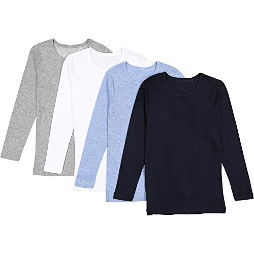 Brix Boys' Long Sleeve Tees - Combed Cotton Super Soft 4-pk Crewneck Shirts. 3/4 (Long Tee Organic Sleeve)