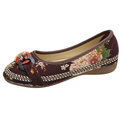 Goddessvan Women Ethnic Beading Colorful Embroidered Shoes Casual Wooden Hemp Rope Low-Heeled Shoes Brown