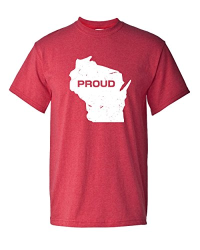 Thread Science Wisconsin State Pride Proud America American USA Home Tee Cheese Classic Vintage Distressed Graphic Adult Mens T-Shirt Apparel (XX-Large, Heather -