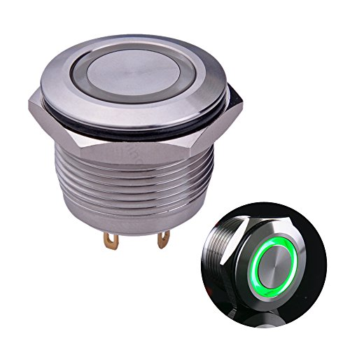 Ulincos Momentary Push Button Switch U19D1 1NO SPST Silver Stainless Steel Shell with Green LED Ring Suitable for 19mm 3/4