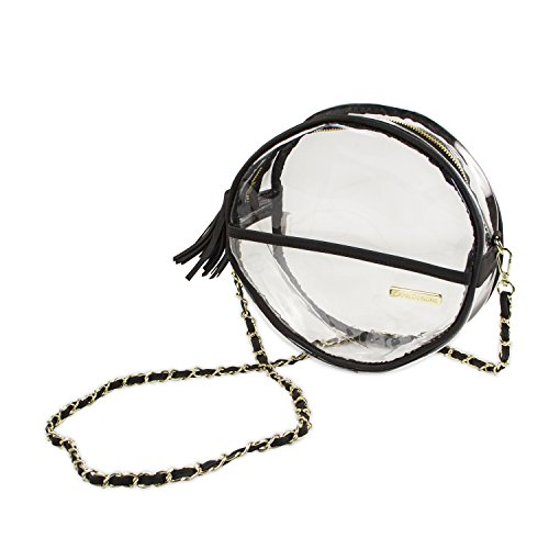 Capri Designs Clear Canteen Crossbody Purse - Black/Security/Stadium Approved - Game Day Purse