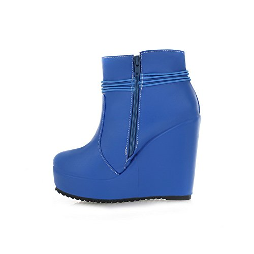 Buckle Zipper Girls Material Blue BalaMasa Soft Boots Platform fxOBqBwHU