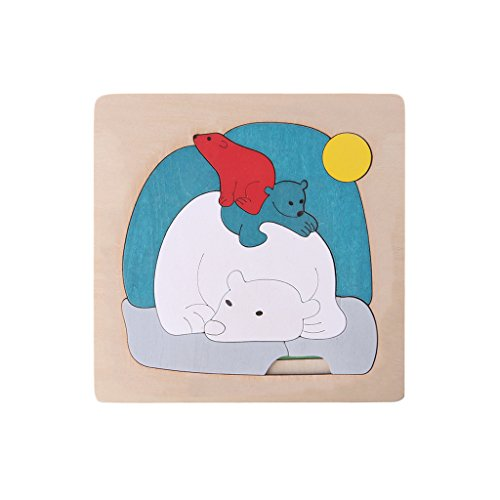 Wooden Polar Bear - Jesse 3D Wooden Puzzle, Polar Bear Colorful Cartoon Jigsaw Educational Toy Gift for Kids Baby Boys Girl Children