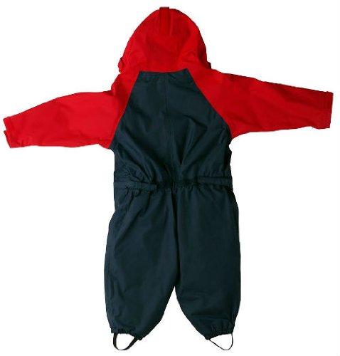 Togz hochwertiger Kinder Regenanzug Overall, Navy Blau / Rot, Gr.120