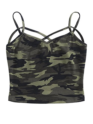 Camo Cami - SweatyRocks Women's Sexy Strappy Crop Top Crisscross Front Camo Print Cami Top