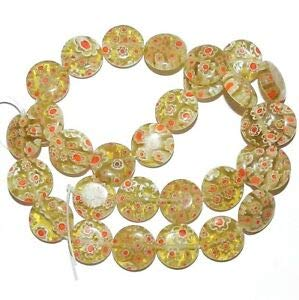 (Steven_store G3011 Olive Yellow w White & Red Flowers 14mm Round Millefiori Glass Beads 15