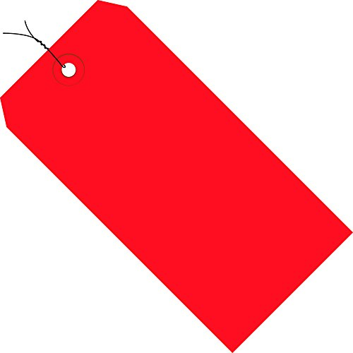 Tape Logic TLG11043E Shipping Tags, Pre-Wired, 13 Point, 4 1/4'' x 2 1/8'', Red (Pack of 1000) by Tape Logic