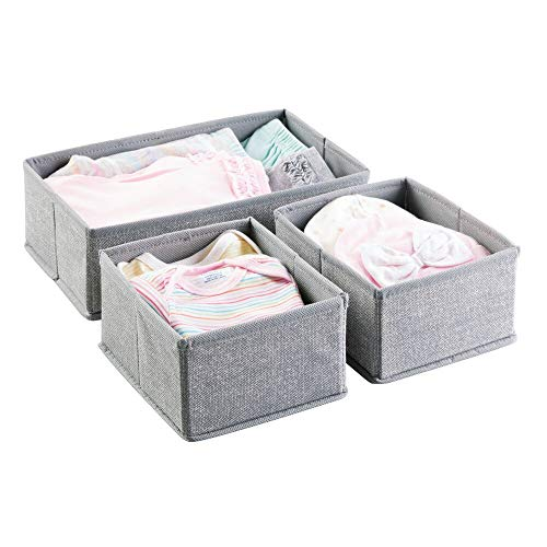 mDesign Soft Fabric Dresser Drawer and Closet Storage Organizer for Kids/Toddler Room, Nursery, Playroom, Bedroom - Textured Print - Organizing Bins in 2 Sizes - Set of 3 - Gray