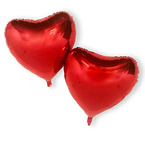 Red Heart Love Balloons Giant 32 Inch Set of Two Foil Balloon for Wedding Birthday Proposal Decoration Ornament Sets Party Romantic Valentines Day Luck and Lit Room Globos de Corazon -