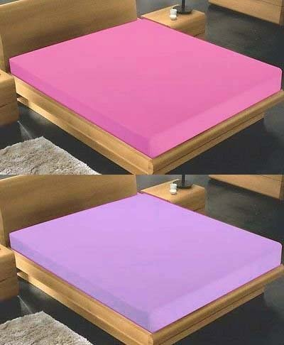 takestop® Under of Single Bed Lilac or Fuchsia Coloured with Fitted sheet cotton maxi white 90 x 200 + 25 cm MOON 1006113