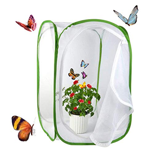 Yeelan Butterfly Habitat Collapsible Bug Catcher Net Mesh Insects Plant Cage Terrarium Pop-up for Kids/Toddler Catching Crickets/Firefly/Caterpillars/Ladybird/Fish etc (Large rectangle)