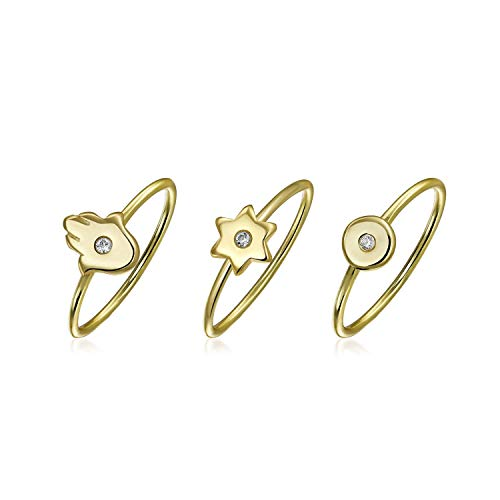 3 Set Minimalist CZ 14K Gold Plated Sterling Silver Midi Knuckle Stackable Disc Star Hamsa Hand Ring 1MM Band For Teen