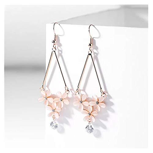 Bueasy Rose Gold Sweet Small Opal Flowers Five Petals Drop Dangle Earrings with Rhinestones, Fashion Gift for Women Girls