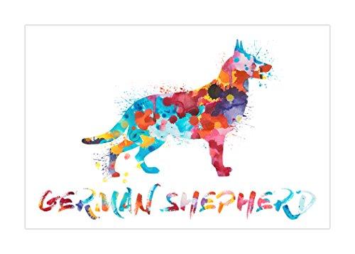 Larger Than Life Prints German Shepherd Watercolor Splatter
