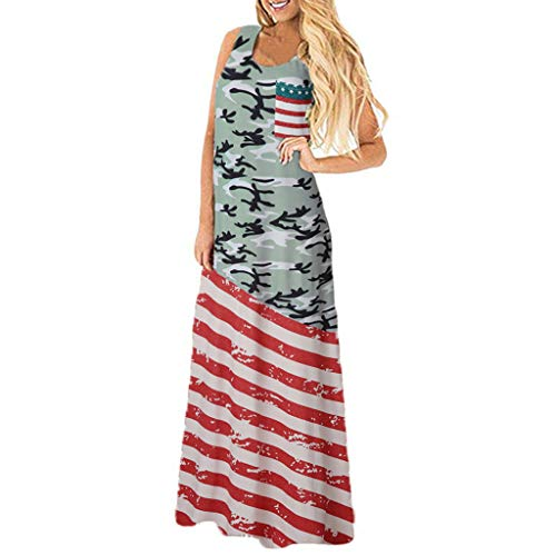 - TOTOD Dress Women Sexy American Flag Print Round Neck Sleeveless Long Maxi Casual Beach Dresses