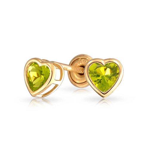 Bling Jewelry Boucles d'oreille petits cœurs fantaisie colorée en Or 14k pour bébé vert clair
