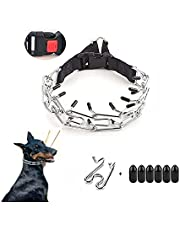 Hymar Dog Prong Collar, Dog Pinch Training Collar, Adjustable Dog Choke Collar with Rubber Tips and Quick Release Snap Buckle for Small Medium Large Dogs