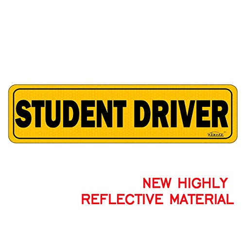 Reflective Bumper - GAMPRO Magnetic Student Driver Sign Bumper Sticker, Highly Reflective Vehicle Car Safety Sign for New Drivers, Reduce Road Rage and Accidents Large Bold Visible Text