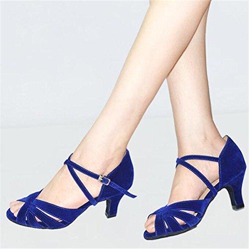 Aufflackern Blau 3 Tango Zoll Ferse 6cm Salsa Ballsaal Komfort Moderne Tanzschuhe Frauen Wildleder Monie B4qvOv