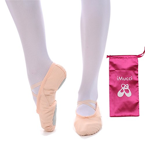 Ballet Costumes Adults (iMucci Adult Women Cotton Canvas Upper and Genuine Leather Sole Ballet Dance Shoes Pink)