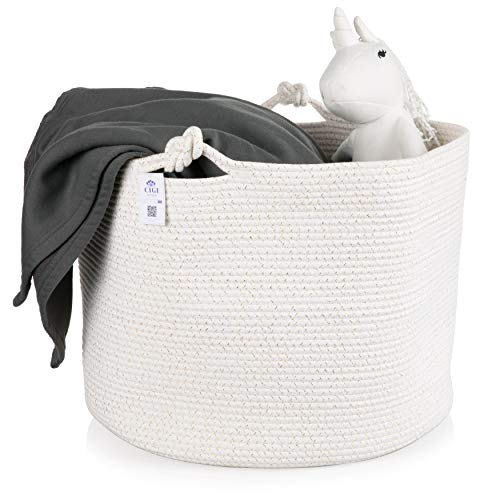 Toddler Wicker - Extra Large Cotton Rope Basket - Neutral White and Gold Hamper 20