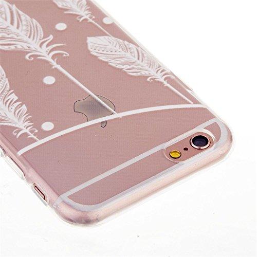 TKSHOP Schutz Case Cover für Apple iPhone 6 / 6S Hülle (4.7 zoll) Taschen Schale Handy TPU Silikon Gel Durchsichtig Schutzhülle kratzfeste Anti-Fingerprint - Weißer Schwan Federn