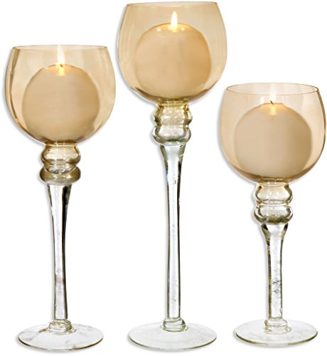 Amber Hurricane - Home Essentials & Beyond Charisma Amber Hurricane Candle Holders Set of 3 With Candles