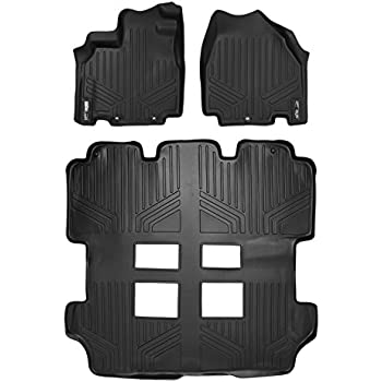 MAXFLOORMAT Floor Mats 3 Row Set Black For 2011 2017 Honda Odyssey