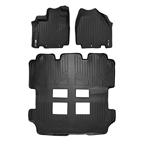 SMARTLINER Floor Mats 3 Row Liner Set Black for 2011-2017 Honda Odyssey