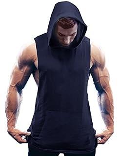1a2d471487c3b Lamore Coofandy Mens Sleeveless Hoodies Bodybuilding Muscle Sweatshirt  Workout Hooeded Tank Top