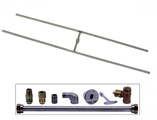 Spotix HPC Match Lit Fire Pit Burner Kit, Rectangle H-Burner, 48x10-Inch Burner, Natural Gas, Polished Chrome by Spotix