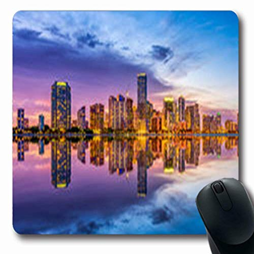 Mousepads Southern Miami Florida USA Skyline Pretty On Biscayne Parks Outdoor Oblong Gaming Mouse Pad Non-Slip Rubber Mat