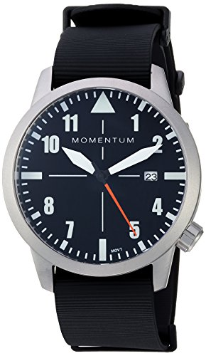 Men's Sports Watch | Fieldwalker Automatic Leather Adventure Watch by Momentum | Stainless Steel Watches for Men | Analog Watch with Automatic Japanese Movement | Water Resistant (200M/660FT) Classic Watch - Black / 1M-SN92BS11B