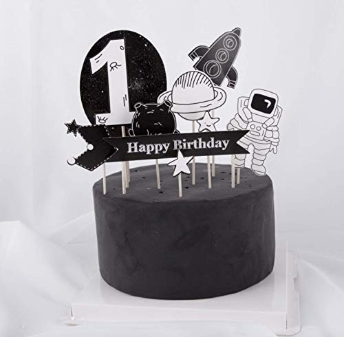 (AIMING WEST Astronaut Rocket Boy 1st Birthday Cake Topper DIY Kit Black Space Stars Cut)