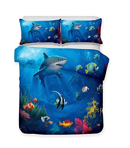 (Damara Ferocious Shark Series 3D Bedding Set Print Duvet Cover Set Lifelike Bed Sheet #01 (14, Twin))