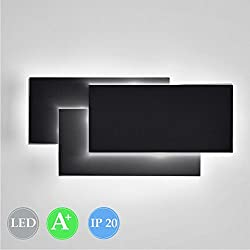 Ralbay Fashion Aluminum 12W LED Wall Mounted Light Lamp AC 85V-265V Wall Sconce Light for Bedroom Living Room Decorate(Black 4000K-4500K)