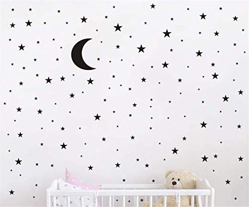 Black Wall Decal Moon Stars (177 Decals) | Easy Peel & Stick + Safe on Walls Paint | Removable Matte Vinyl Stars Decor Art Glitter Sayings Sticker Large Paper Sheet Set for Nursery Room
