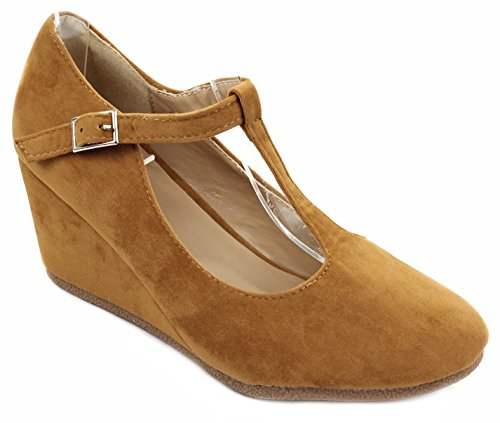Formal Tan Pump Strap Dress T Velvet Mid Round Patricia04 Toe Wedge Shoes wq01PSS