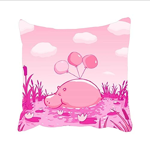 FunnyLife Throw Pillow Case Pink Cute Wallpaper Cushion Cover Square Pillowslip for Sleeping