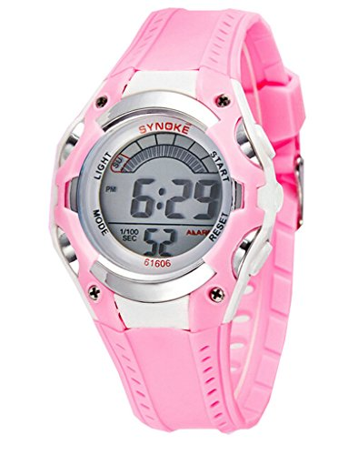 Boys Water-proof Summer Outdoor Digital Resin Sports Watches Kids Watches Pink by YJLHCYGG