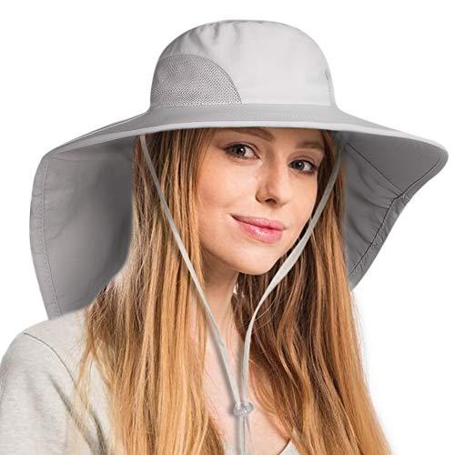 (FURTALK Safari Sun Hats for Women Wide Brim Neck Flap Ponytail UPF Outdoor Fishing Hiking Hat Grey)