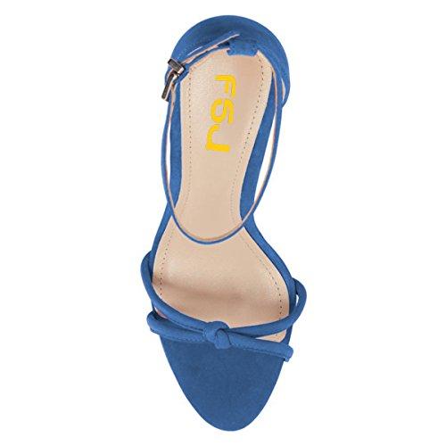 Women Shoes Heels Sandals Cutout Sexy Size Stilettos Open 4 FSJ Strap High Ankle 15 US Toe Blue Party dqC1Cwx7