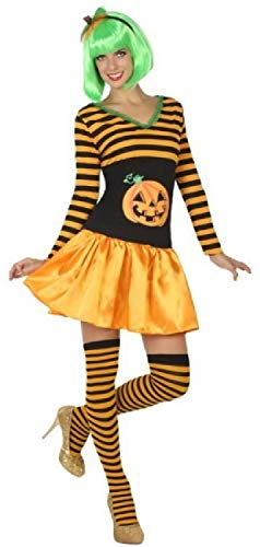 Ladies Cute Sexy Pumpkin Halloween Carnival Fancy Dress Costume Outfit with Shorts UK 8-18 (UK 16-18)
