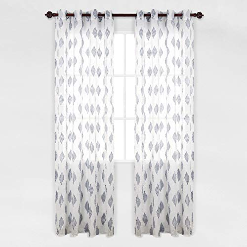 (Deconovo Grommet Top Sheer Grey Curtains Jacquard Leaf Pattern 52 Inch Wide by 95 Inch Long Sheer Curtains for French Door 2 Panels)
