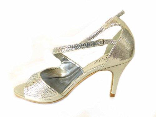 Diamante Basse mariage 823 Chaussures haut Mid Taille mariage 8 Silver Prom talon Cour de Femme gwZEII