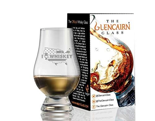 Glencairn Decorative Crystal Whiskey Tasting Glass – I Love Whiskey over US Map and Flag