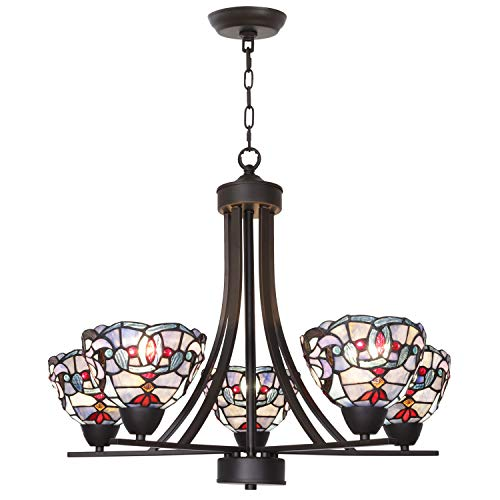 BONLICHT Tiffany Style Stained Glass Chandeliers 5 Light Antique Victorian Ceiling Pendant Fixtures Hanging 7-Inch Art Glass Shade,Oil Rubbed Bronze Pendant Lighting for Dining Room Restaurant Bar (Bronze 7 Light Chandelier)