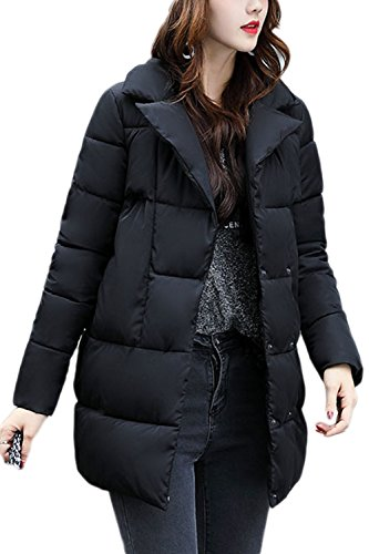 Warm Black Quilted Casual Parkas Hoodie Winter Mujer Long La Outwear qBPwII