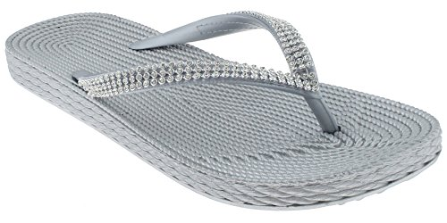 Capelli New York Ladies Fashion Flip Flops with Rhinestone Trim Silver ()