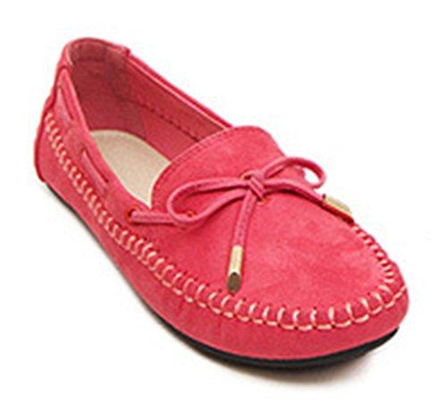 Easemax Moda Para Mujer De Punta Redonda Low Casual Slip On Bowknot Flats Zapatos Red